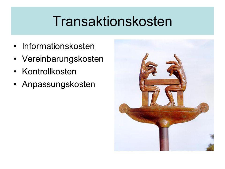 Transaktionskosten Informationskosten Vereinbarungskosten Kontrollkosten Anpassungskosten