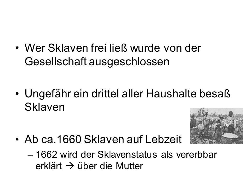 Wer Sklaven frei ließ wurde von der Gesellschaft ausgeschlossen Ungefähr ein drittel aller Haushalte besaß Sklaven Ab ca.1660 Sklaven auf Lebzeit –166