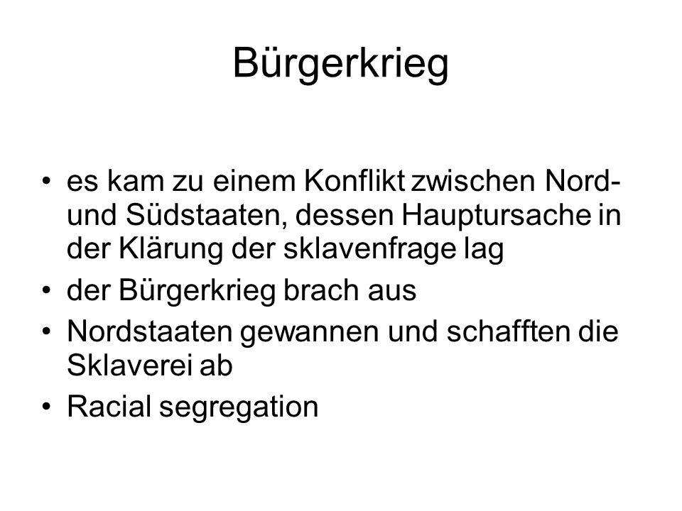 Racial segregation - Rassentrennung Separate but equal (getrennt aber gleich) 1896 durch die Entscheidung des Obersten Gerichtshofs legalisiert Fakt war: getrennt und benachteiligt