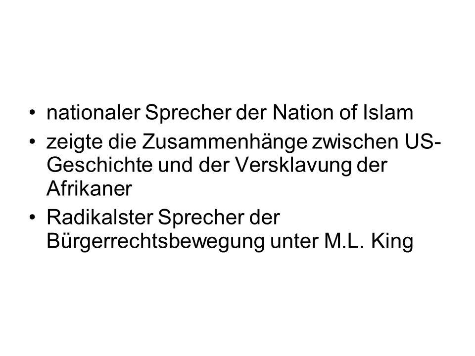 nationaler Sprecher der Nation of Islam zeigte die Zusammenhänge zwischen US- Geschichte und der Versklavung der Afrikaner Radikalster Sprecher der Bü