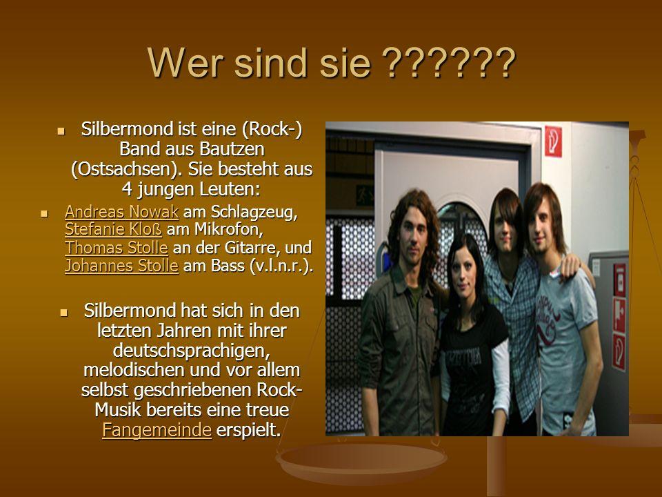 Wer sind sie ?????? Silbermond ist eine (Rock-) Band aus Bautzen (Ostsachsen). Sie besteht aus 4 jungen Leuten: A A nnnn dddd rrrr eeee aaaa ssss N N