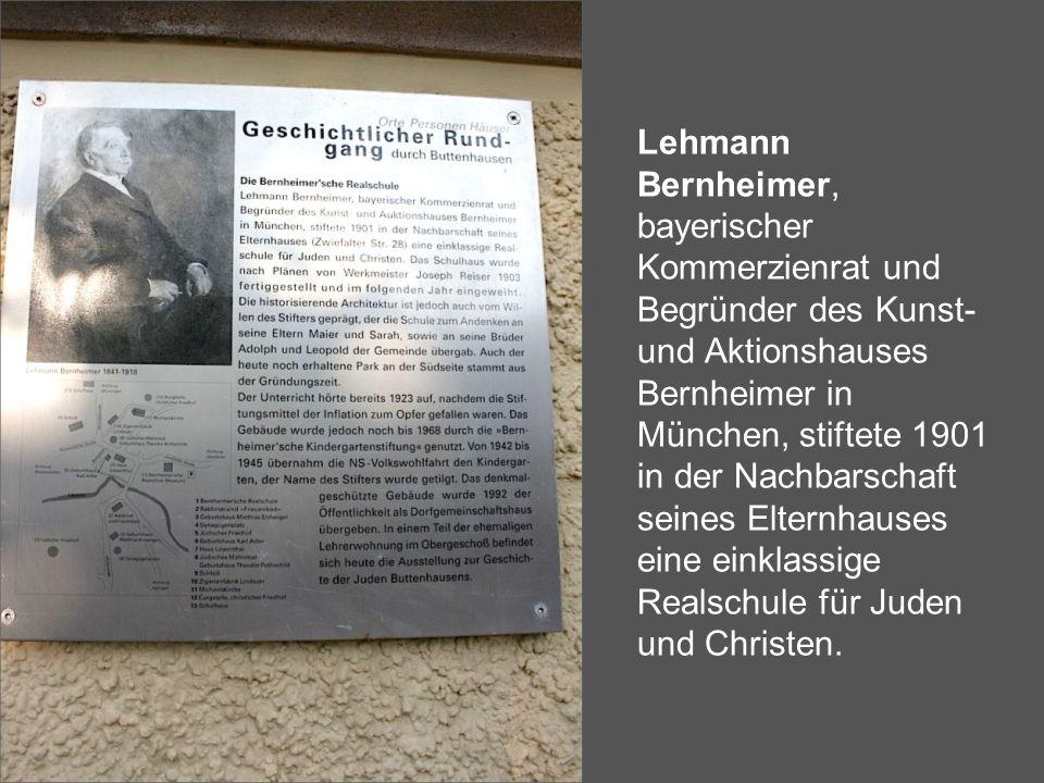 Lehmann Bernheimer, bayerischer Kommerzienrat und Begründer des Kunst- und Aktionshauses Bernheimer in München, stiftete 1901 in der Nachbarschaft sei