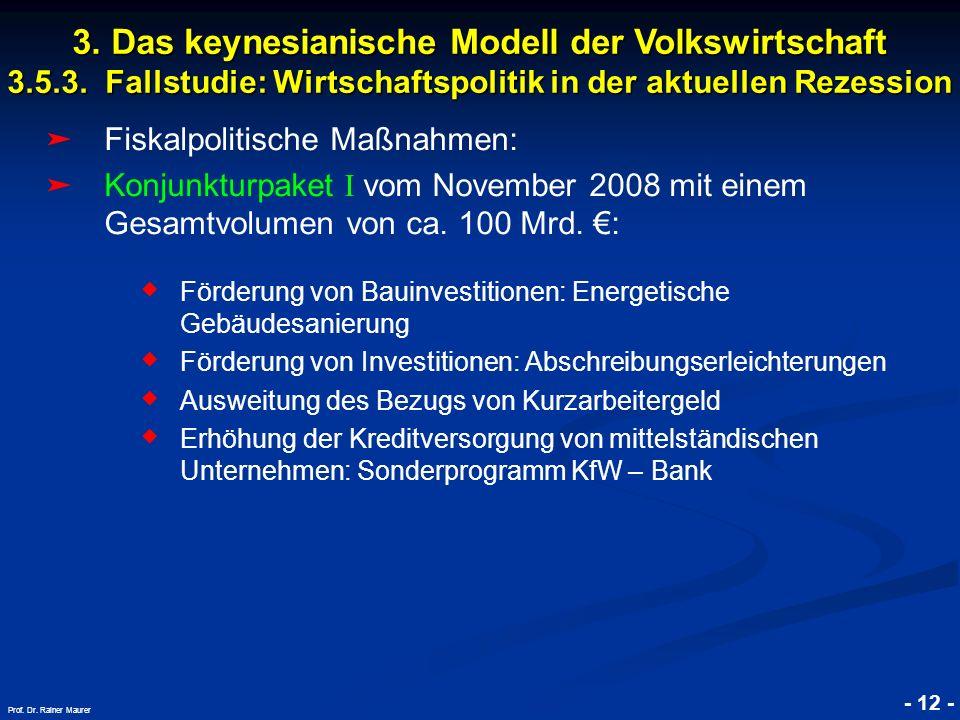 © RAINER MAURER, Pforzheim - 12 - Prof. Dr. Rainer Maurer Fiskalpolitische Maßnahmen: Konjunkturpaket I vom November 2008 mit einem Gesamtvolumen von
