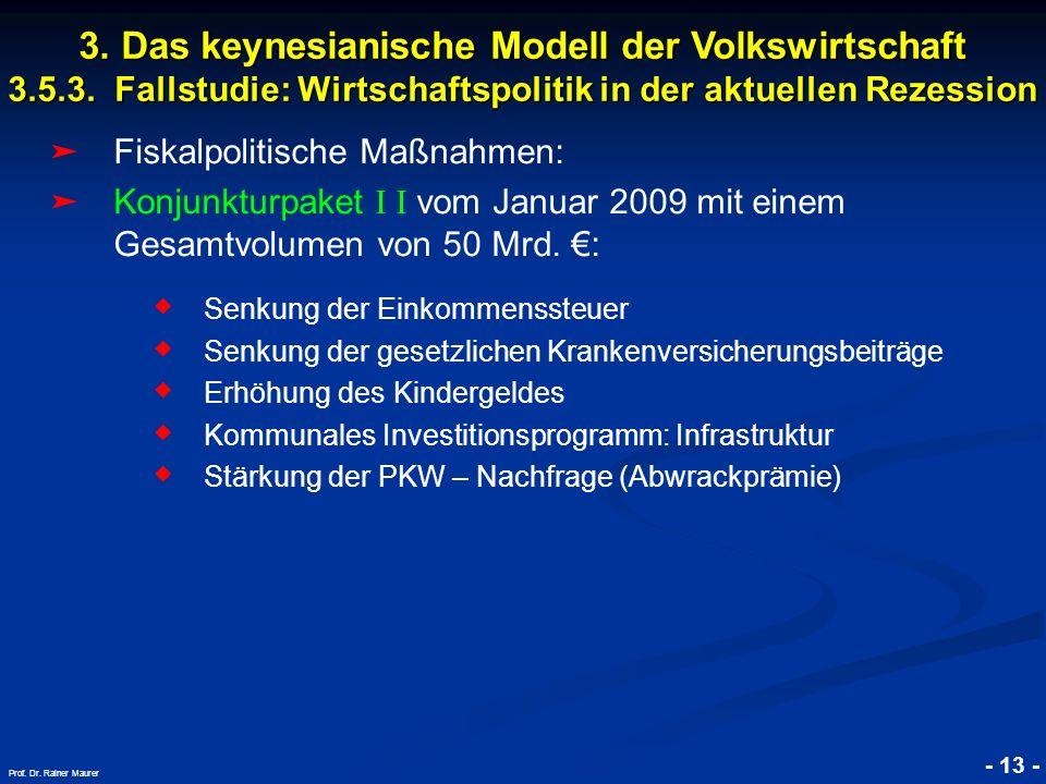 © RAINER MAURER, Pforzheim - 13 - Prof. Dr. Rainer Maurer Fiskalpolitische Maßnahmen: Konjunkturpaket I I vom Januar 2009 mit einem Gesamtvolumen von