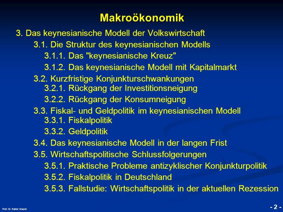 © RAINER MAURER, Pforzheim - 2 - Prof. Dr. Rainer Maurer Makroökonomik 3. Das keynesianische Modell der Volkswirtschaft 3.1. Die Struktur des keynesia
