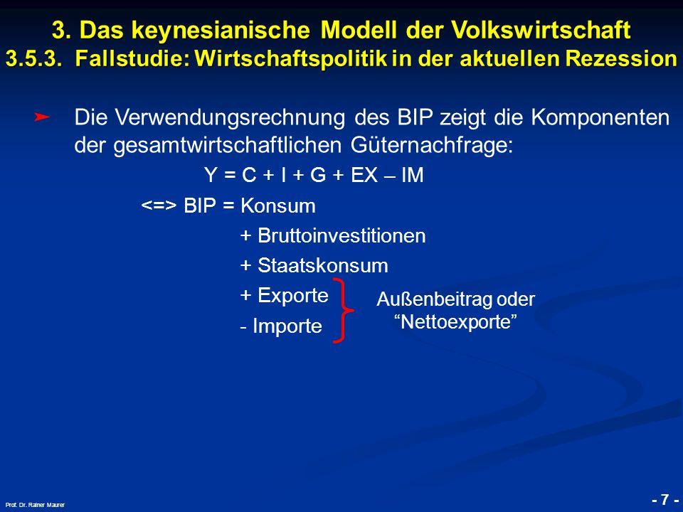 © RAINER MAURER, Pforzheim - 7 - Prof. Dr. Rainer Maurer Die Verwendungsrechnung des BIP zeigt die Komponenten der gesamtwirtschaftlichen Güternachfra