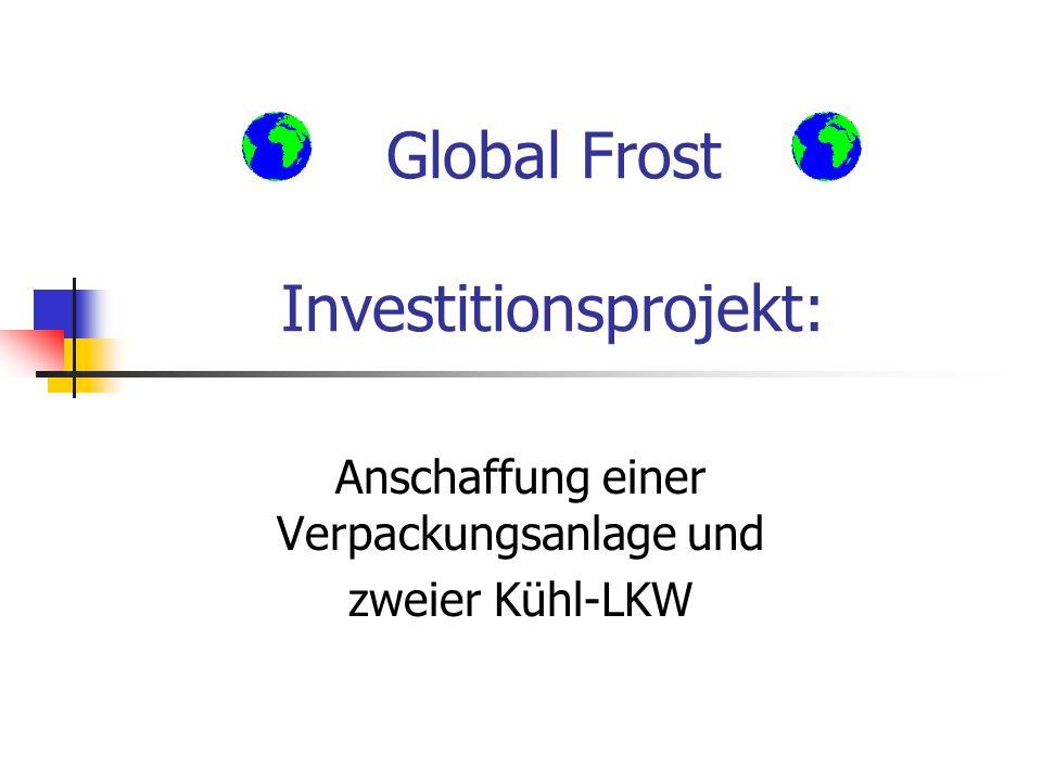 Global Frost Investitionsprojekt: Anschaffung einer Verpackungsanlage und zweier Kühl-LKW