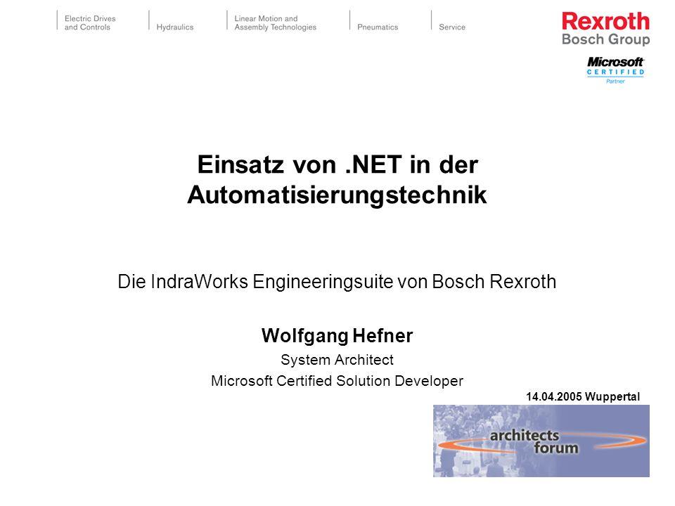 Einsatz von.NET in der Automatisierungstechnik Die IndraWorks Engineeringsuite von Bosch Rexroth Wolfgang Hefner System Architect Microsoft Certified