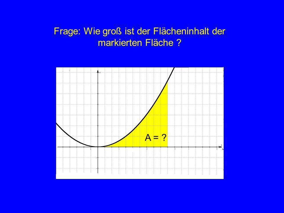 Wodurch ist die Größe der Fläche festgelegt ? A = ? Graph der Funktionx-Achse Intervalllänge