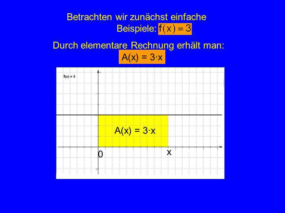 Betrachten wir zunächst einfache Beispiele: x 0 Durch elementare Rechnung erhält man: A(x) = 3·x