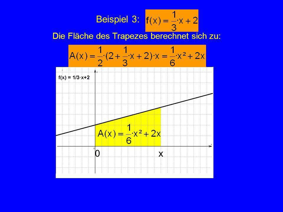Zusammenstellung A(x) = 3·x Lässt sich ein Zusammenhang zwischen Flächenfunktion und Ausgangsfunktion finden ?