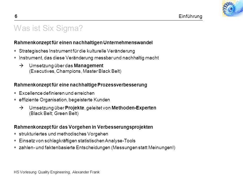 HS Vorlesung Quality Engineering, Alexander Frank Einleitung57 SIPOC als Tool zur Projektabgrenzung VORGEHEN 1.