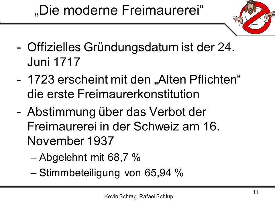 Kevin Schrag, Rafael Schlup 11 Die moderne Freimaurerei -Offizielles Gründungsdatum ist der 24. Juni 1717 -1723 erscheint mit den Alten Pflichten die