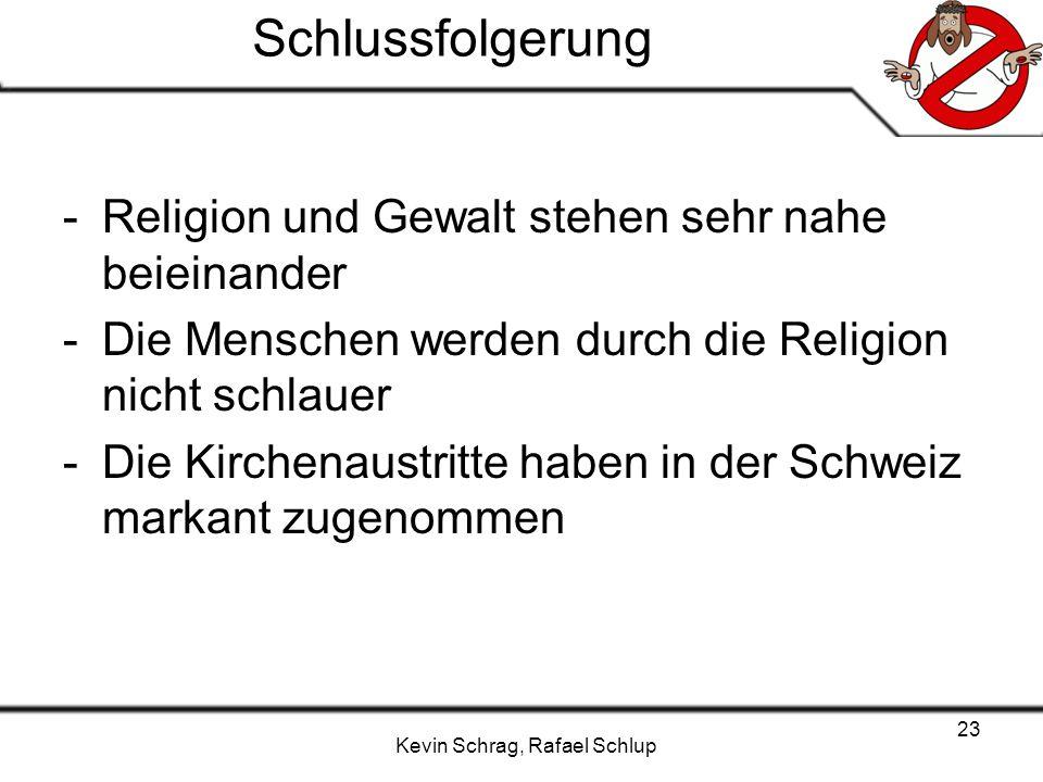 Kevin Schrag, Rafael Schlup 23 Schlussfolgerung -Religion und Gewalt stehen sehr nahe beieinander -Die Menschen werden durch die Religion nicht schlau
