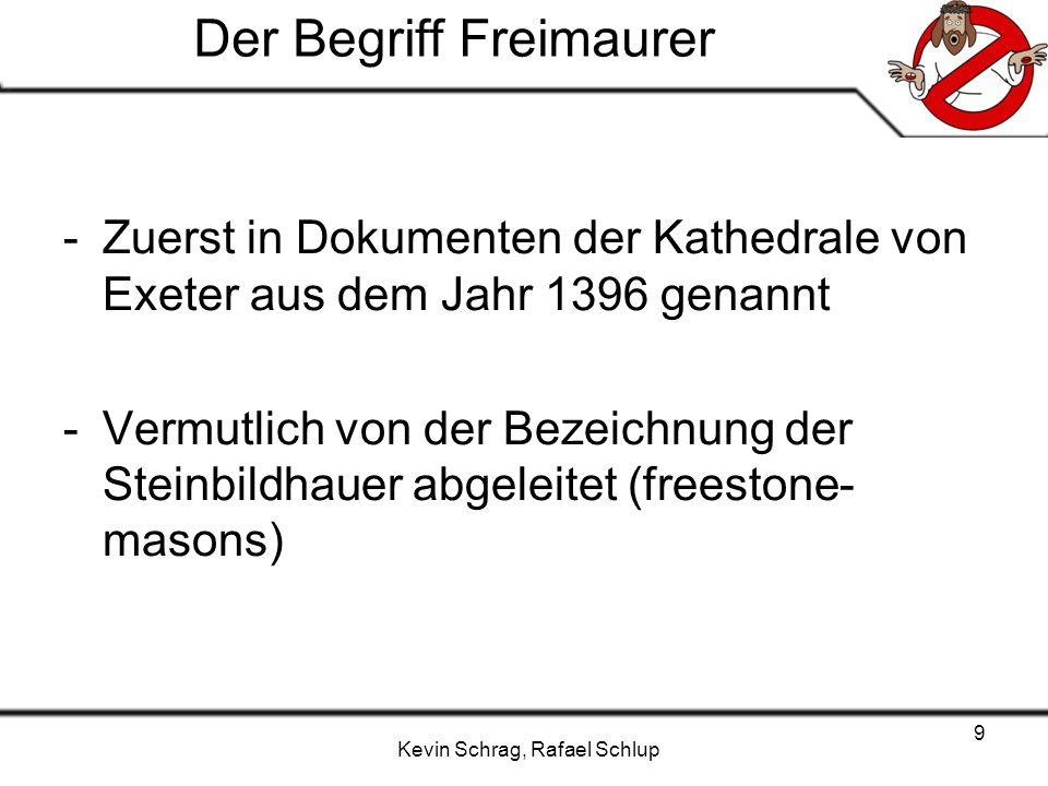 Kevin Schrag, Rafael Schlup 9 Der Begriff Freimaurer -Zuerst in Dokumenten der Kathedrale von Exeter aus dem Jahr 1396 genannt -Vermutlich von der Bez