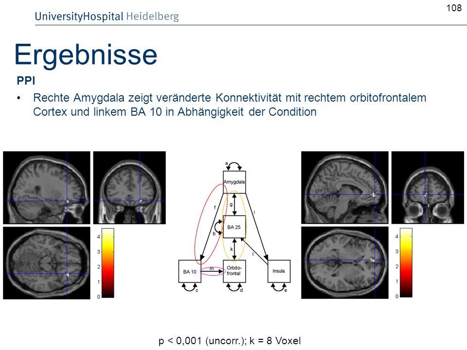 108 Ergebnisse PPI Rechte Amygdala zeigt veränderte Konnektivität mit rechtem orbitofrontalem Cortex und linkem BA 10 in Abhängigkeit der Condition p