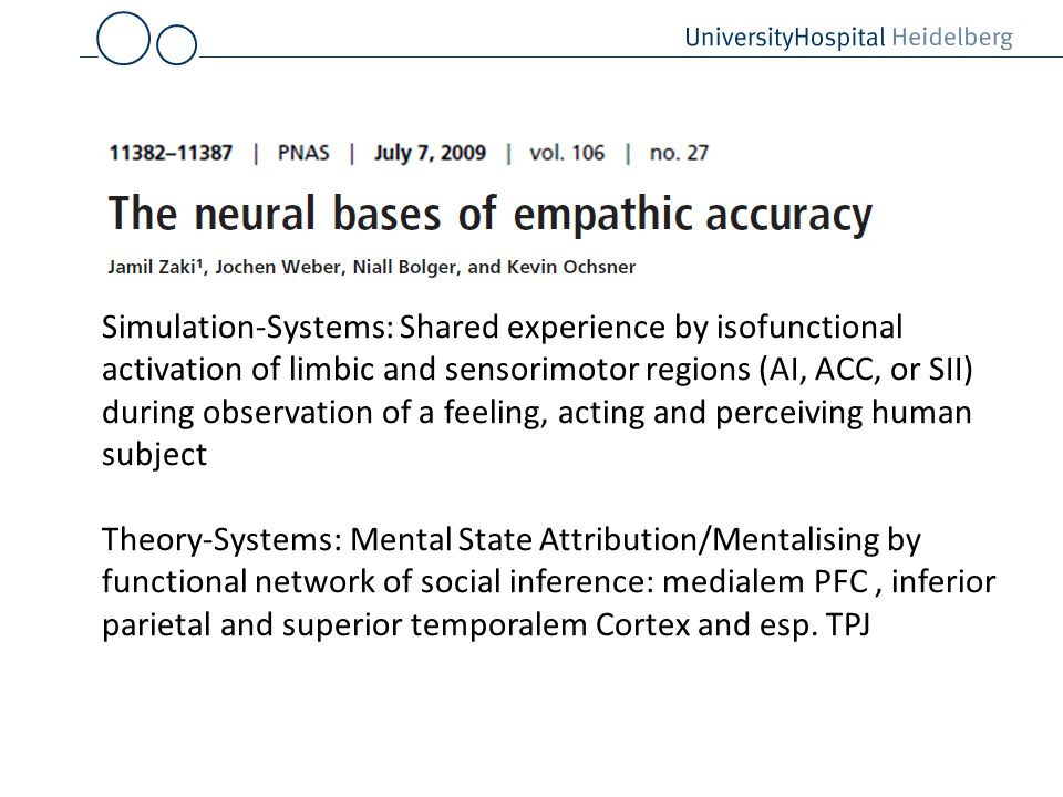 Simulation-Systems: Shared experience by isofunctional activation of limbic and sensorimotor regions (AI, ACC, or SII) during observation of a feeling