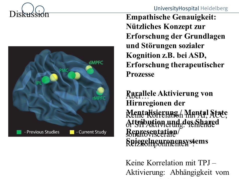 Diskussion Empathische Genauigkeit: Nützliches Konzept zur Erforschung der Grundlagen und Störungen sozialer Kognition z.B. bei ASD, Erforschung thera