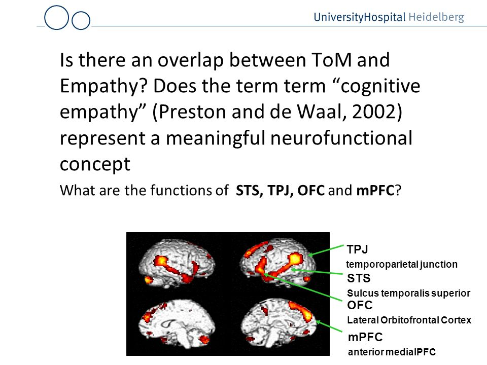 Is there an overlap between ToM and Empathy? Does the term term cognitive empathy (Preston and de Waal, 2002) represent a meaningful neurofunctional c
