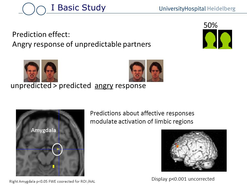 Amygdala unpredicted > predicted angry response Predictions about affective responses modulate activation of limbic regions Prediction effect: Angry r