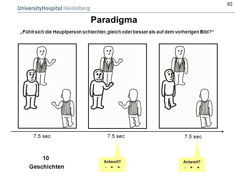 92 Paradigma 7.5 sec Antwort? - = + 10 Geschichten Antwort? - = + Fühlt sich die Hauptperson schlechter, gleich oder besser als auf dem vorherigen Bil