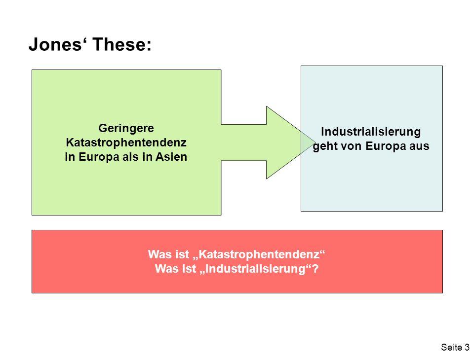Seite 3 Jones These: Geringere Katastrophentendenz in Europa als in Asien Industrialisierung geht von Europa aus Was ist Katastrophentendenz Was ist Industrialisierung?