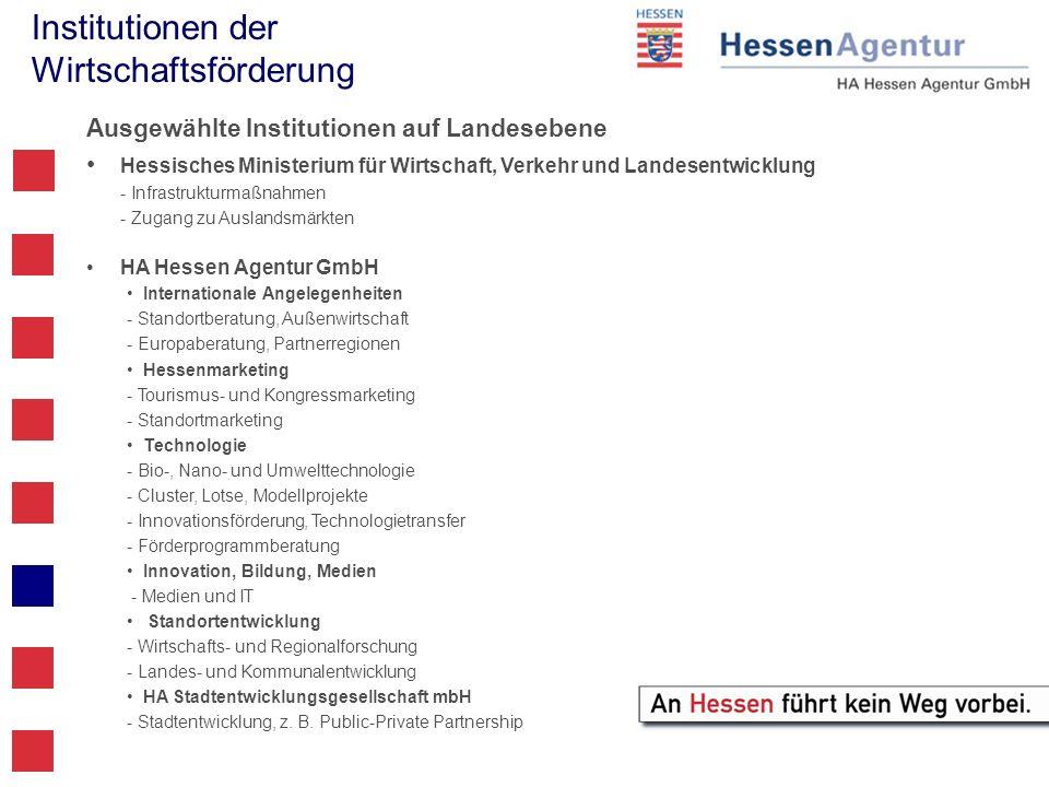 Institutionen der Wirtschaftsförderung Ausgewählte Institutionen auf Landesebene Hessisches Ministerium für Wirtschaft, Verkehr und Landesentwicklung