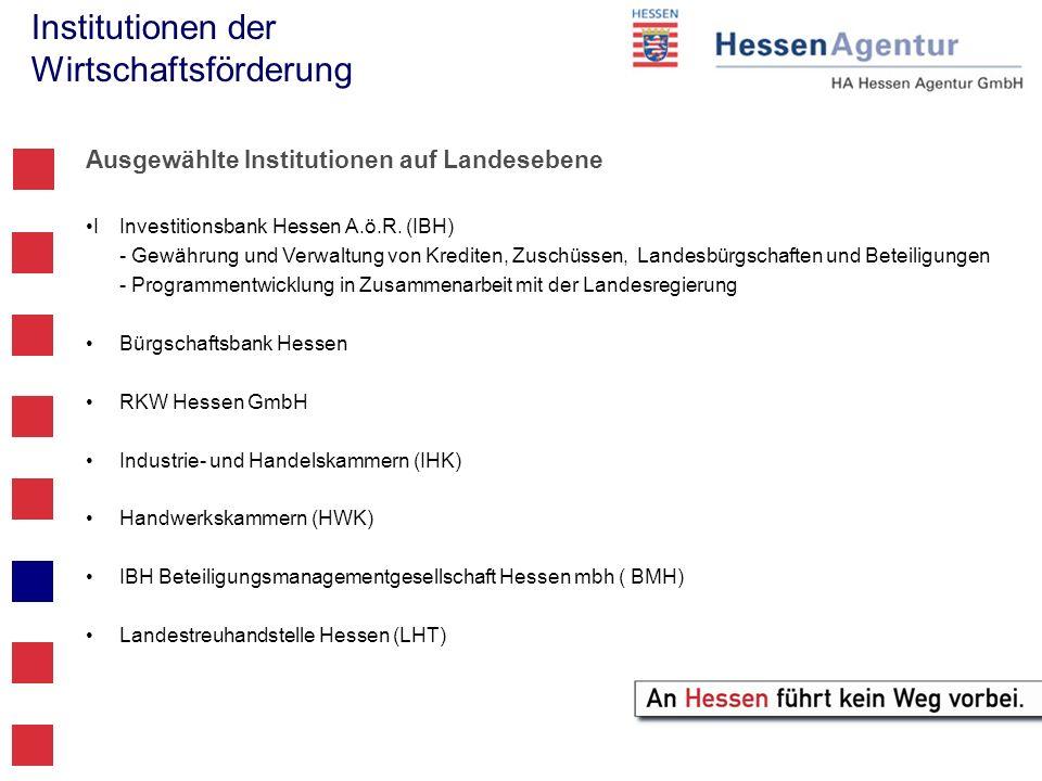Institutionen der Wirtschaftsförderung Ausgewählte Institutionen auf Landesebene IInvestitionsbank Hessen A.ö.R. (IBH) - Gewährung und Verwaltung von