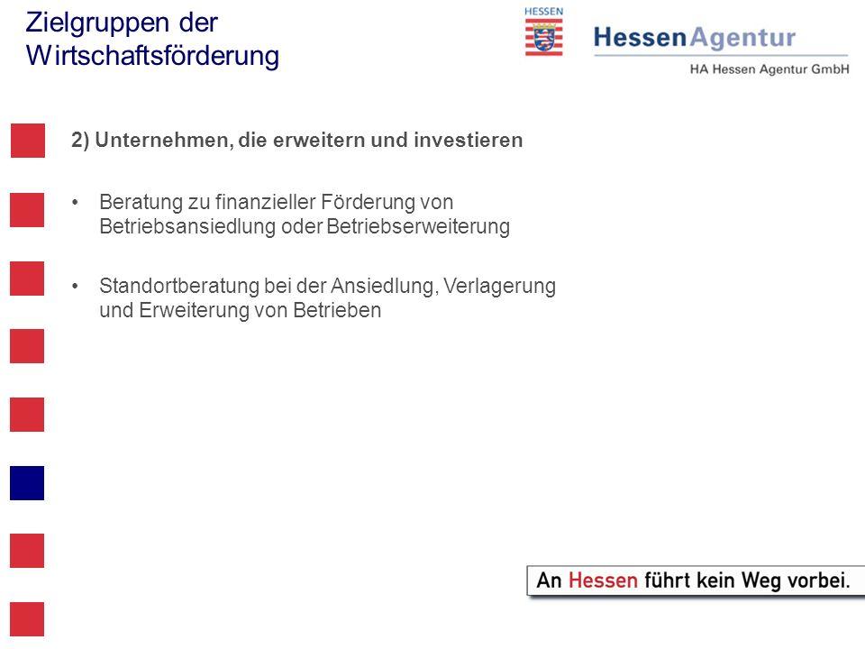 Zielgruppen der Wirtschaftsförderung 2) Unternehmen, die erweitern und investieren Beratung zu finanzieller Förderung von Betriebsansiedlung oder Betr