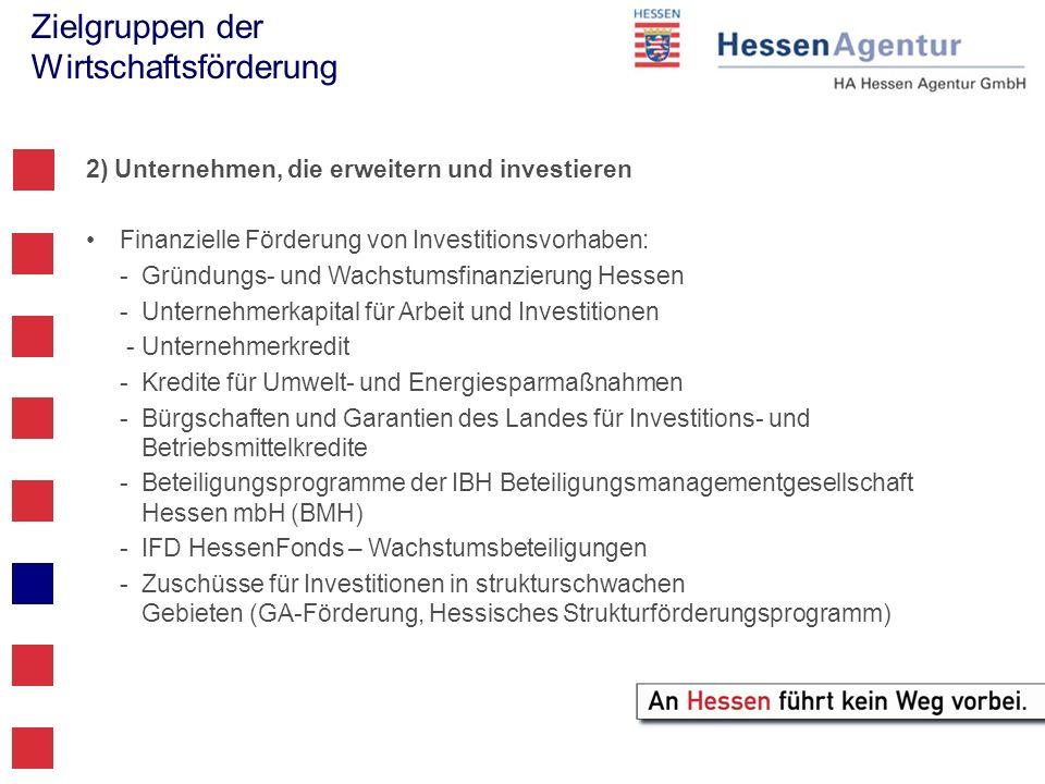 Zielgruppen der Wirtschaftsförderung 2) Unternehmen, die erweitern und investieren Finanzielle Förderung von Investitionsvorhaben: -Gründungs- und Wac