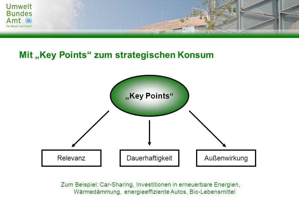 Mit Key Points zum strategischen Konsum RelevanzDauerhaftigkeitAußenwirkung Key Points Zum Beispiel: Car-Sharing, Investitionen in erneuerbare Energie