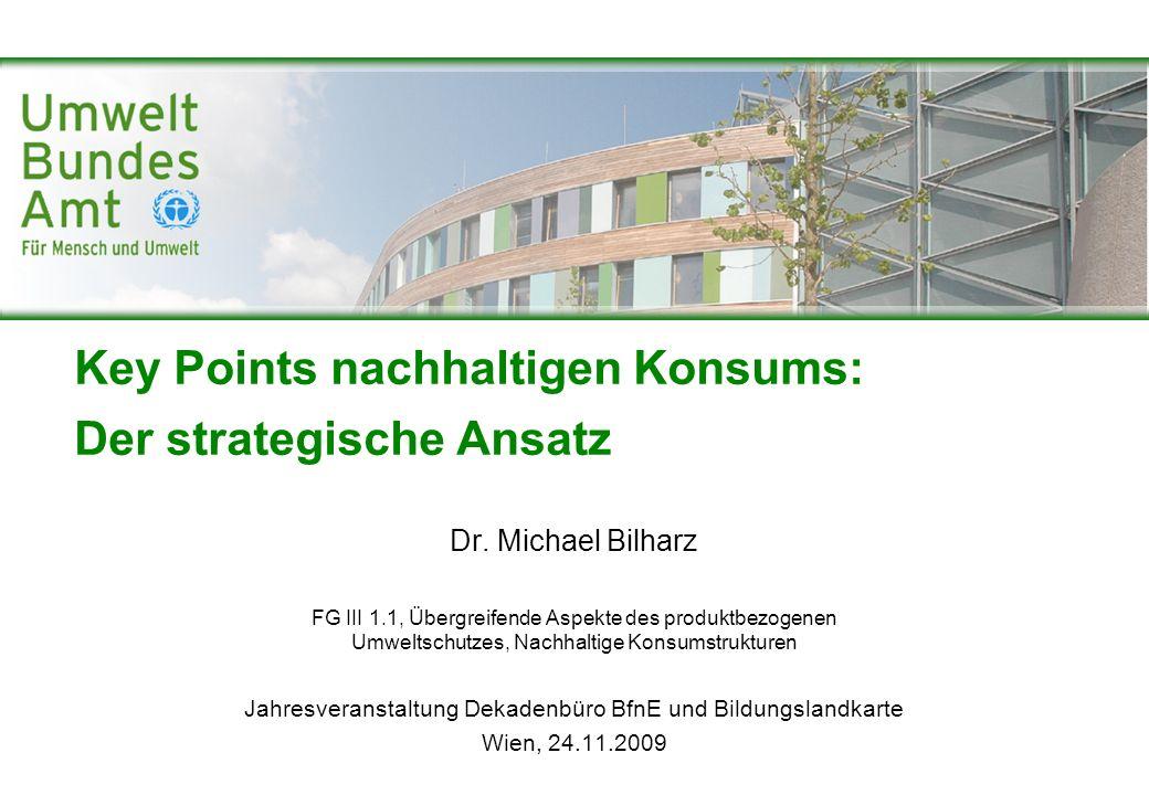 Key Points nachhaltigen Konsums: Der strategische Ansatz Dr. Michael Bilharz FG III 1.1, Übergreifende Aspekte des produktbezogenen Umweltschutzes, Na