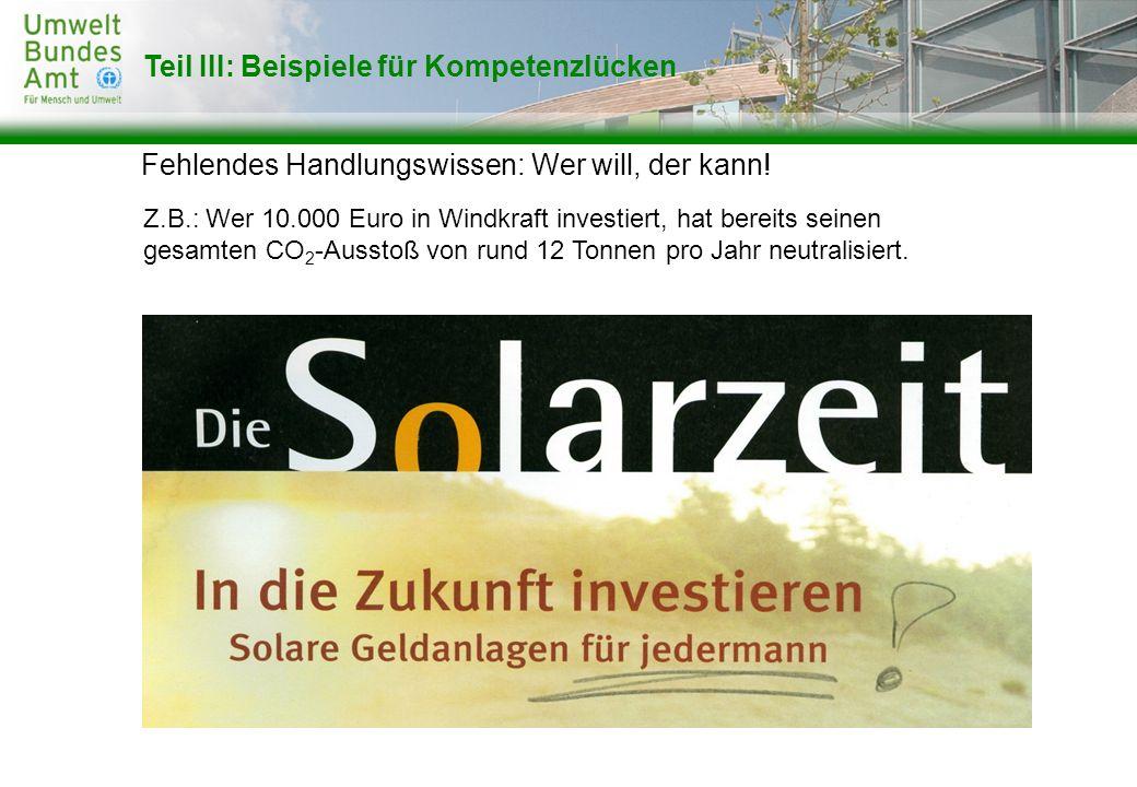 Fehlendes Handlungswissen: Wer will, der kann! Teil III: Beispiele für Kompetenzlücken Z.B.: Wer 10.000 Euro in Windkraft investiert, hat bereits sein