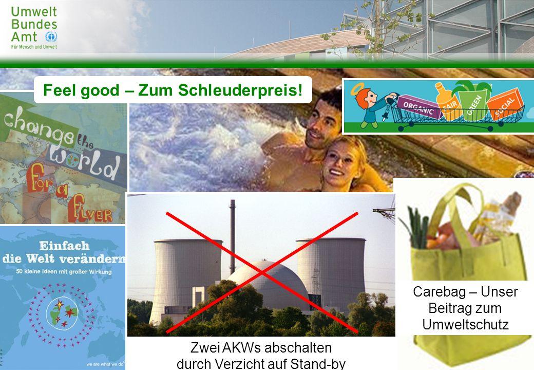 Carebag – Unser Beitrag zum Umweltschutz Zwei AKWs abschalten durch Verzicht auf Stand-by Feel good – Zum Schleuderpreis!