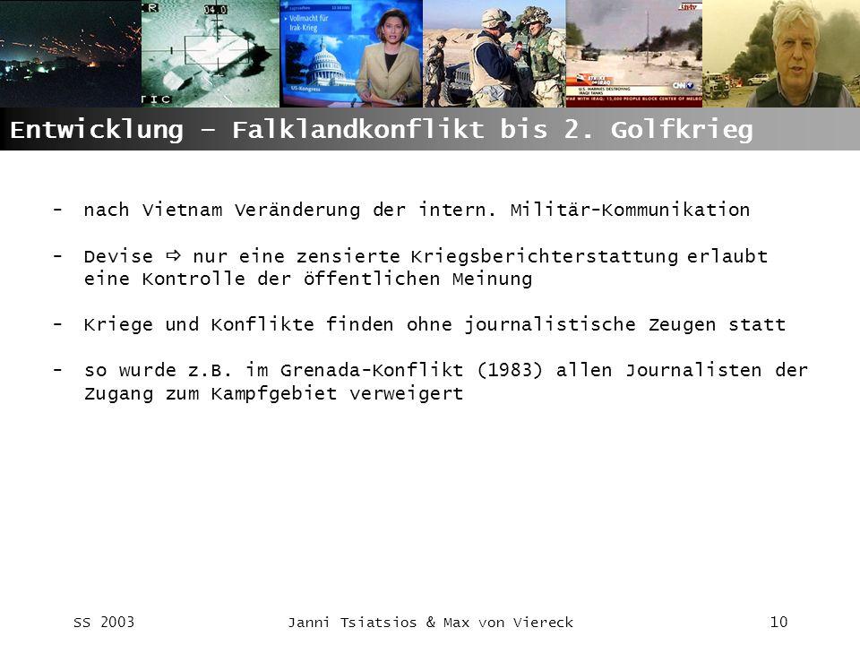 SS 2003Janni Tsiatsios & Max von Viereck10 Entwicklung – Falklandkonflikt bis 2. Golfkrieg -nach Vietnam Veränderung der intern. Militär-Kommunikation