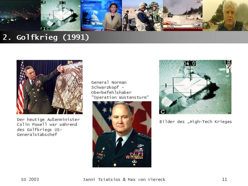 SS 2003Janni Tsiatsios & Max von Viereck11 2. Golfkrieg (1991) Der heutige Außenminister Colin Powell war während des Golfkriegs US- Generalstabschef