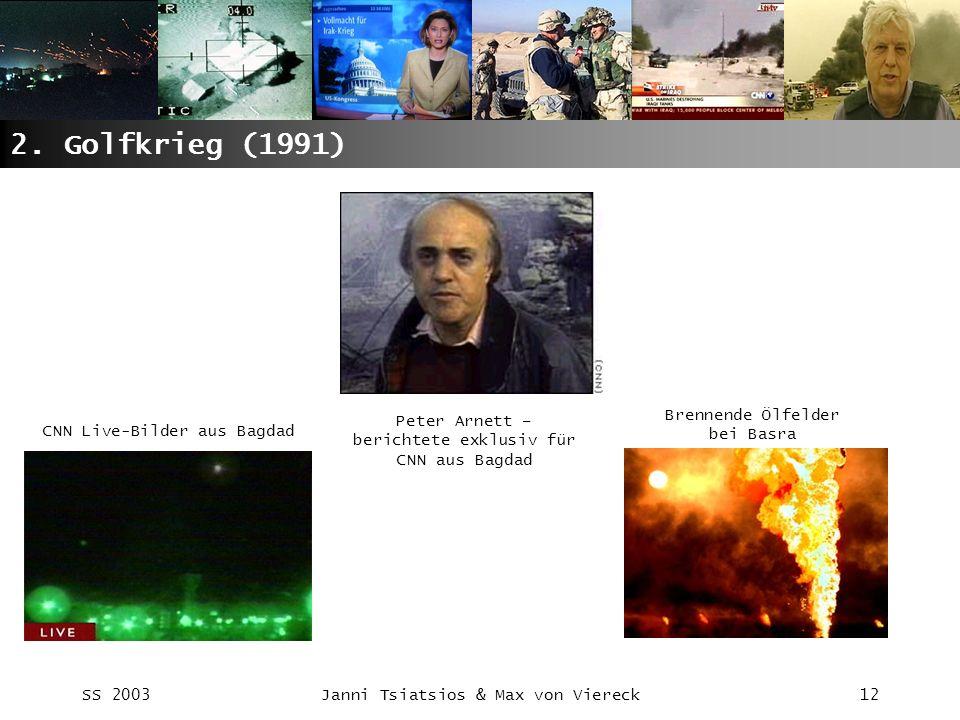 SS 2003Janni Tsiatsios & Max von Viereck12 2. Golfkrieg (1991) CNN Live-Bilder aus Bagdad Peter Arnett – berichtete exklusiv für CNN aus Bagdad Brenne