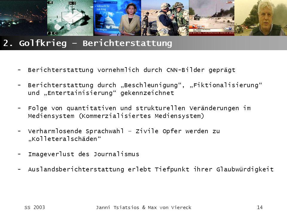 SS 2003Janni Tsiatsios & Max von Viereck14 2. Golfkrieg – Berichterstattung -Berichterstattung vornehmlich durch CNN-Bilder geprägt -Berichterstattung