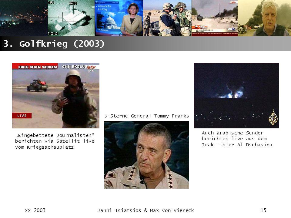 SS 2003Janni Tsiatsios & Max von Viereck15 3. Golfkrieg (2003) Eingebettete Journalisten berichten via Satellit live vom Kriegsschauplatz Auch arabisc