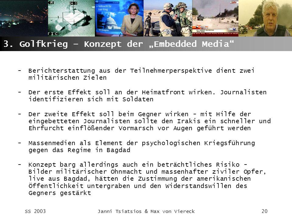 SS 2003Janni Tsiatsios & Max von Viereck20 3. Golfkrieg – Konzept der Embedded Media -Berichterstattung aus der Teilnehmerperspektive dient zwei milit