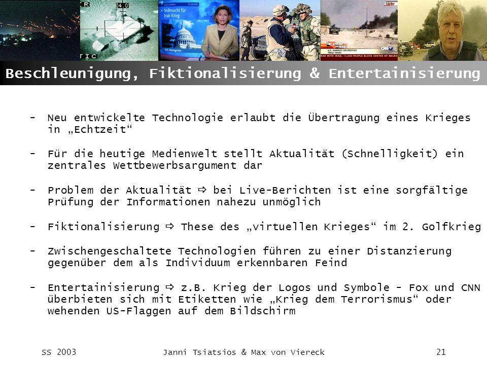 SS 2003Janni Tsiatsios & Max von Viereck21 Beschleunigung, Fiktionalisierung & Entertainisierung -Neu entwickelte Technologie erlaubt die Übertragung