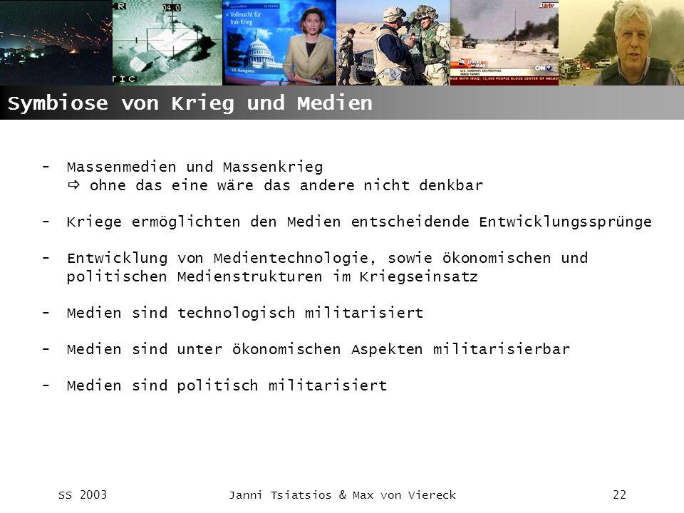 SS 2003Janni Tsiatsios & Max von Viereck22 Symbiose von Krieg und Medien -Massenmedien und Massenkrieg ohne das eine wäre das andere nicht denkbar -Kr