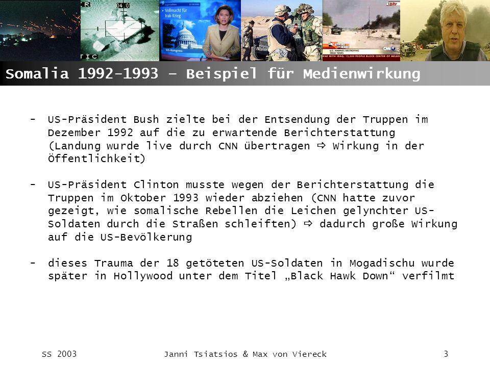 SS 2003Janni Tsiatsios & Max von Viereck24 Abschlußthesen: -Eine unabhängige und objektive Kriegsberichterstattung ist unmöglich, da Regierungen und Militärs stets alle Mittel der Informationskontrolle ausüben werden -Die Informationskontrolle im Golfkrieg von 1991 war nichts neues – nur die Form der Berichterstattung war neu -Medien werden dazu instrumentalisiert Kriege vorzubereiten und zu begleiten -Unter dem hohen Wettbewerbs- und Aktualitätsdruck der Medien leidet die Berichterstattung -Deutsche Journalisten haben in einem bisher unbekannten Ausmaß die Bedingungen ihre Berichterstattung transparent gemacht und damit beim Publikum an Glaubwürdigkeit gewonnen