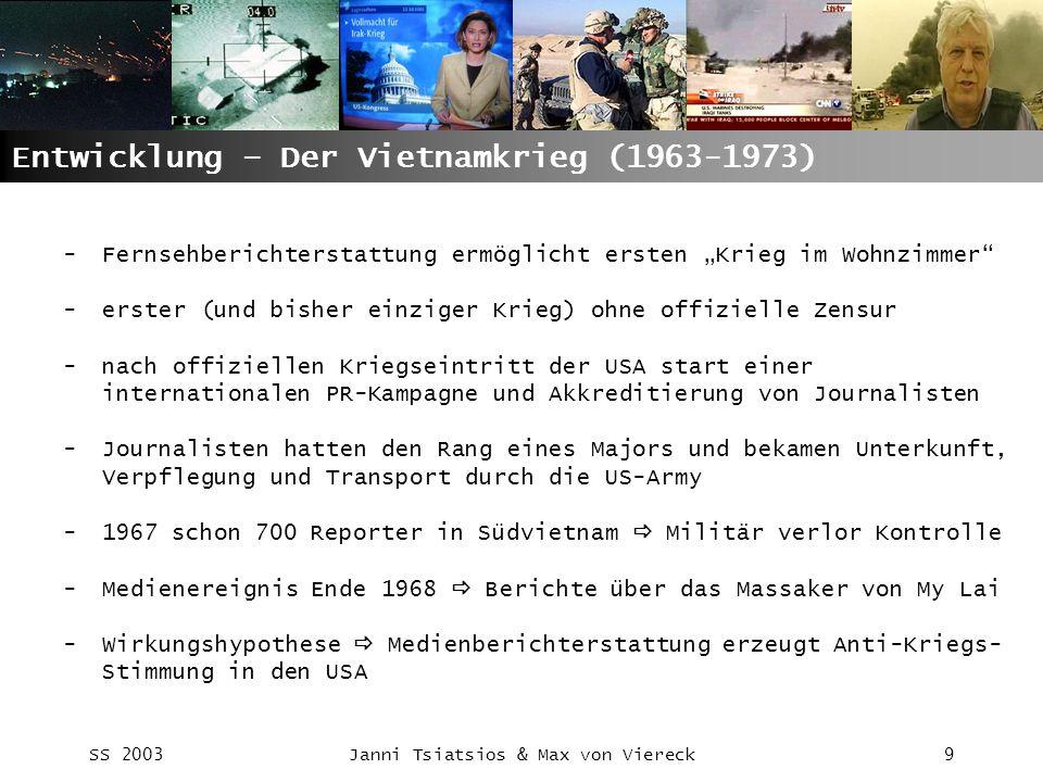 SS 2003Janni Tsiatsios & Max von Viereck9 Entwicklung – Der Vietnamkrieg (1963-1973) -Fernsehberichterstattung ermöglicht ersten Krieg im Wohnzimmer -