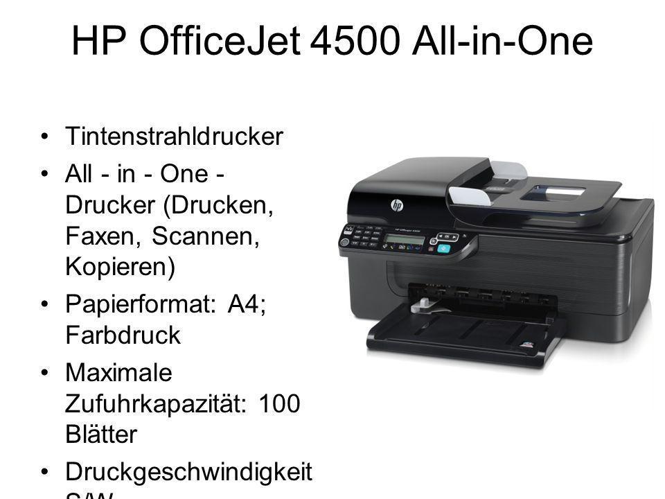 HP OfficeJet 4500 All-in-One Tintenstrahldrucker All - in - One - Drucker (Drucken, Faxen, Scannen, Kopieren) Papierformat: A4; Farbdruck Maximale Zufuhrkapazität: 100 Blätter Druckgeschwindigkeit S/W (Entwurfsqualität)