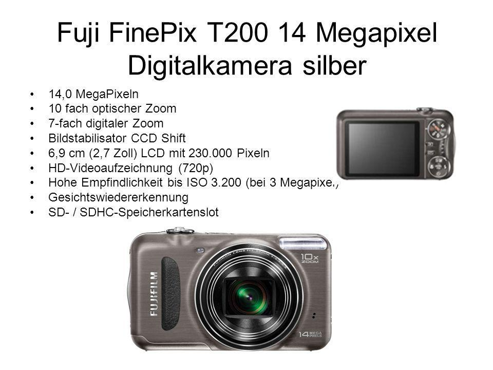 Fuji FinePix T200 14 Megapixel Digitalkamera silber 14,0 MegaPixeln 10 fach optischer Zoom 7-fach digitaler Zoom Bildstabilisator CCD Shift 6,9 cm (2,7 Zoll) LCD mit 230.000 Pixeln HD-Videoaufzeichnung (720p) Hohe Empfindlichkeit bis ISO 3.200 (bei 3 Megapixel) Gesichtswiedererkennung SD- / SDHC-Speicherkartenslot