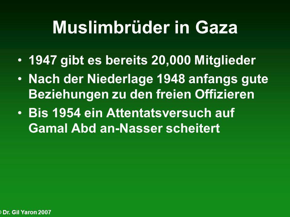 © Dr. Gil Yaron 2007 Muslimbrüder in Gaza 1947 gibt es bereits 20,000 Mitglieder Nach der Niederlage 1948 anfangs gute Beziehungen zu den freien Offiz