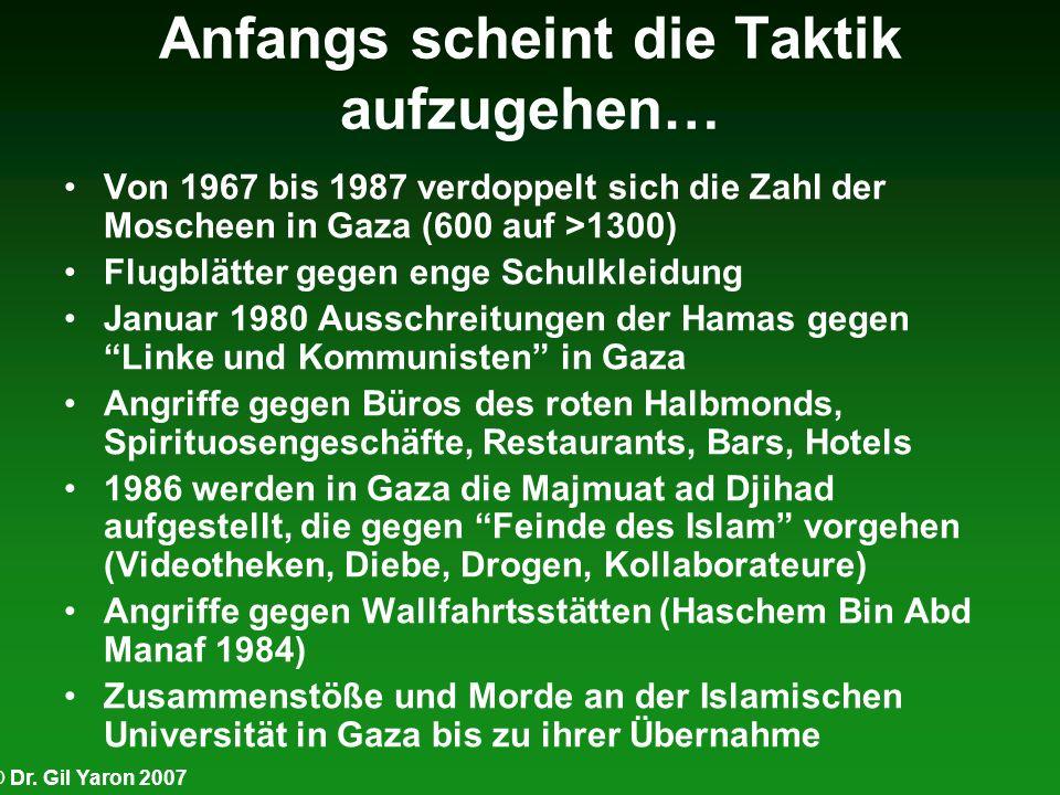 © Dr. Gil Yaron 2007 Anfangs scheint die Taktik aufzugehen… Von 1967 bis 1987 verdoppelt sich die Zahl der Moscheen in Gaza (600 auf >1300) Flugblätte