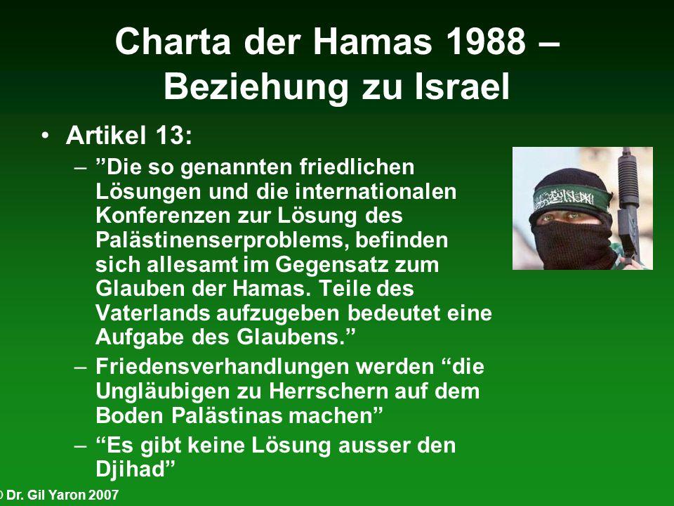 © Dr. Gil Yaron 2007 Charta der Hamas 1988 – Beziehung zu Israel Artikel 13: –Die so genannten friedlichen Lösungen und die internationalen Konferenze