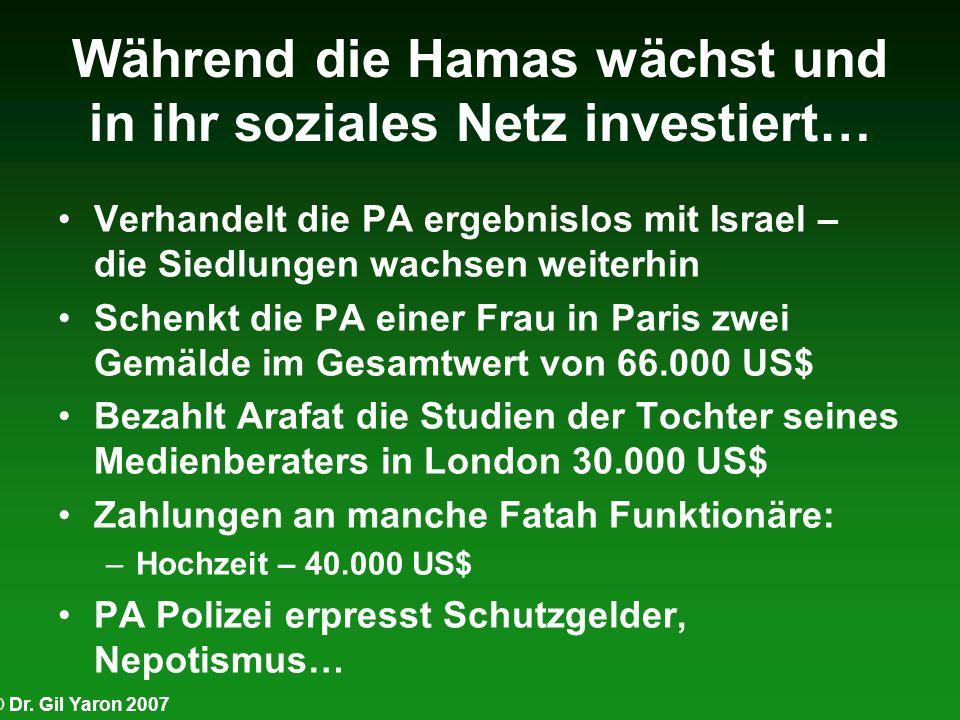 © Dr. Gil Yaron 2007 Während die Hamas wächst und in ihr soziales Netz investiert… Verhandelt die PA ergebnislos mit Israel – die Siedlungen wachsen w